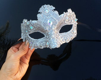 Masquerade Mask, Lace Masquerade Mask, Masquerade Ball Masks, Mask, Mardi Gras Mask, Lace Mask, Masquerade Ball Mask [Silver with Gems]