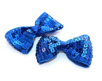 2 Small Sequin Bow Ties--Royal Blue