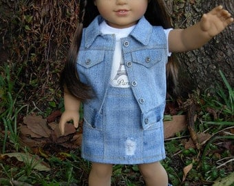 4 Piece Jean Skirt Set fits American Girl Doll and 18 inch dolls