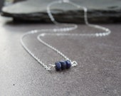 RESERVED FOR ROXY Blue sapphires and sterling silver chain, row necklace, bar necklace, minimalist, statement, September birthstone  (JK288)