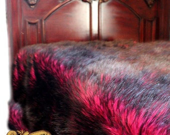 Plush Faux Fur Bedspread  Dark Cherry Pink with Black Tips Soft Shag with Minky Cuddle Fur Lining Fur Accents USA