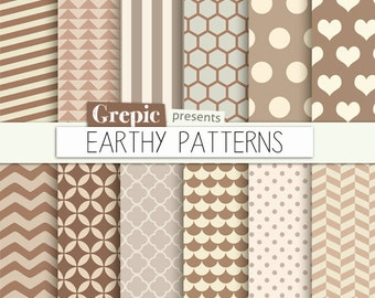 "SALE 50% Brown digital paper: ""EARTHY PATTERNS"" cream beige brown grey earth tones chevron, polkadots, stripes, scallops, triangle"