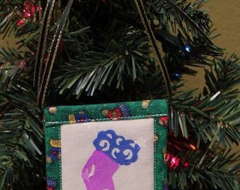 Stocking Fabric Square Christmas Ornaments
