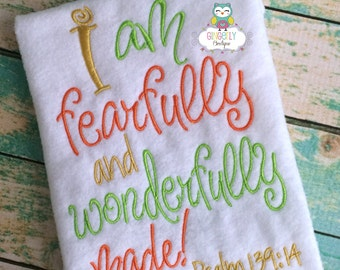 I am fearfully and wonderfully made bodysuit or shirt -Boy/Neutral Version - Baby Shower Gift, New Baby Gift