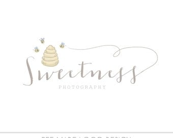 Watercolor Business logo, bumble bee design, watercolor bee hive, Pre-made Logo, watermark, hand drawn, photography