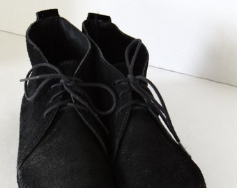 Vintage Beautiful Black Suede Leather Minnetonka Moccasins Ankle Boots Tie Up Ankle Boots Women Size 8