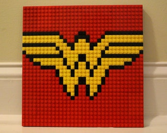 "WONDER WOMAN Lego Mosaic 10""x10"""