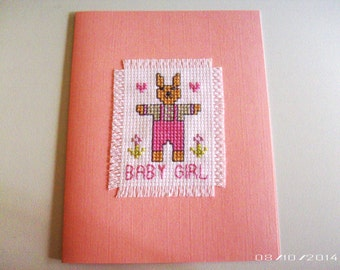 Baby Girl Greeting Card - Baby Girl Bunny Cross-Stitch Greeting Card