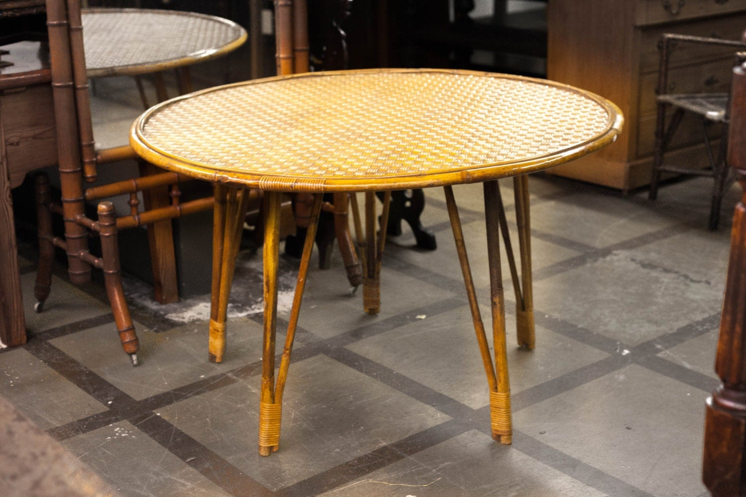Bamboo Wicker Dining Table Haute Juice