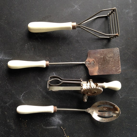 REDUCED Four Antique Toy Cooking Utensils White Wood Handles A