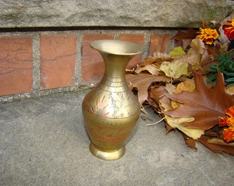 Decorative 70s Vintage Small Etched Brass Vase from India