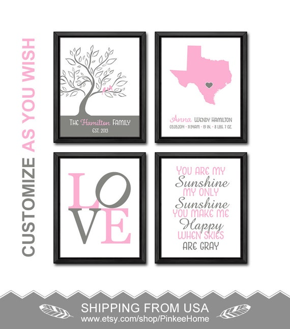 New Baby Announcement Gift Ideas : Baby girl nursery ideas birth announcement gifts by pinkeehome