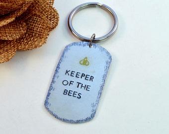 Keeper of the Bees Keyring, Beekeeper Keyring, Keychain, Bee Keeper, Gift for Beekeeper
