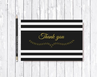 Gold Thank You Card Printable, Thank you Note Cards, Digital file, Black & White Thank You Card, Wedding Thank you, Shower Thank you Card