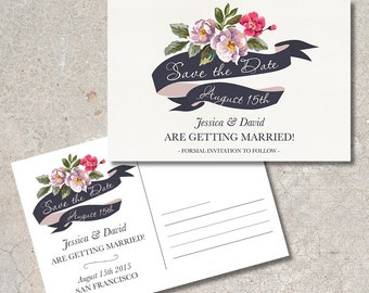 Save the Date Postcard Printable, Floral Save the date Card, Printable Save the Date Card, Wedding Save the Date Card, Digital File