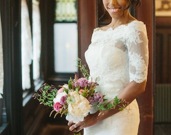 Lace wedding dress, strapless dress with beading details--KYLIE