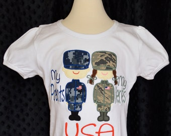 Personalized Military Man/Woman My Parents My Heroes Applique Shirt or Onesie Boy or Girl