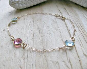 Personalized Birthstone Bracelet Birthstone Jewelry Custom Birthstone Bracelet Mothers Bracelet Girls bracelet Swarovski Birthstones Gift