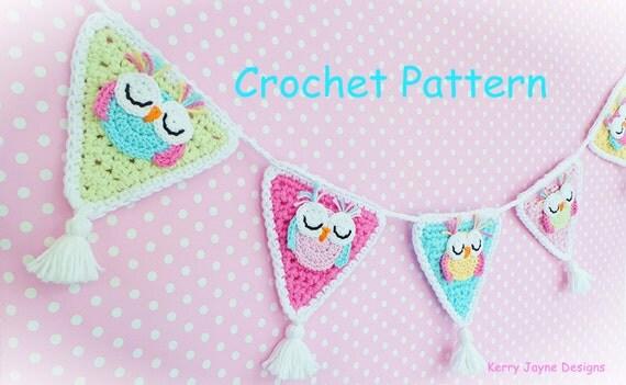 SLEEPY OWL BUNTING Garland - Owl crochet pattern Owl ...