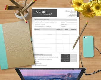 Invoice / Receipt Form - MsWord & Photoshop Template for Photographers - INSTANT DOWNLOAD - IR001