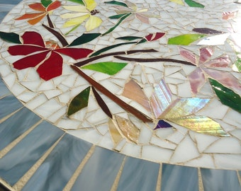 SALE! MOSAIC table colorful dancing flowers stained glass mosaic art table top or wall piece WHITE