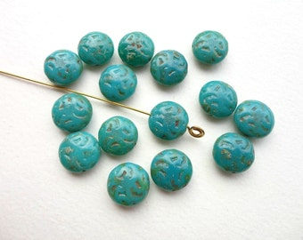 4 x 14mm Teal Picasso Fruit Stone Czech Glass Beads, Teal Fruit Stone Beads, Teal Coin Beads, Picasso Fruit Stone Beads CON0010