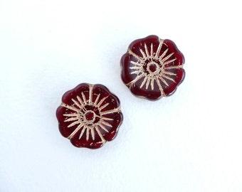 2 x 22mm Red and Bronze Hawaiian Flower Czech Glass Beads, Red Flower Beads, Bronze Flower Beads, Hawaiian Flower FLW0068