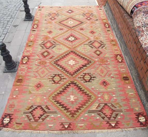 Vintage Turkish Pastel Color Kilim RugSHIPPING By