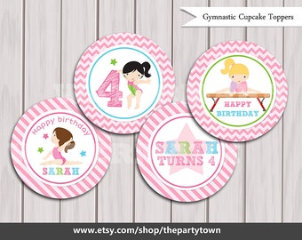 Gymnastic Cupcake Toppers, Gymnastic Cake Toppers, Gymnastic Birthday Printables, Gymnastic party printable Printable DIY Girl