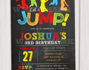 Jump invitation, Bounce house invitation, Trampoline birthday invitation,  Pump It Up Party, Sky High Invitation boy Printable DIY