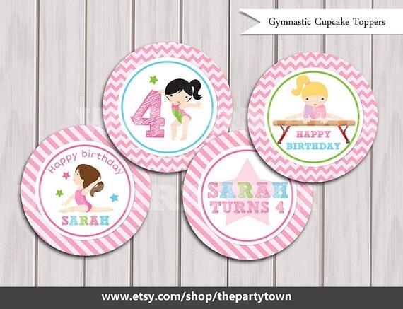 Cake Decoration Printable : Gymnastic Cupcake Toppers, Gymnastic Cake Toppers, Gymnastic Birthday Printables, Gymnastic ...