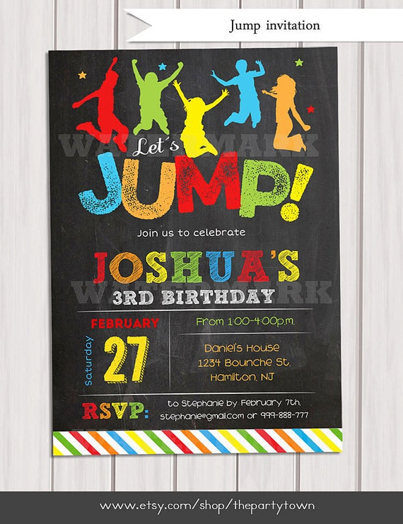 Jump invitation Bounce house invitation Trampoline birthday – Pump It Up Party Invitations