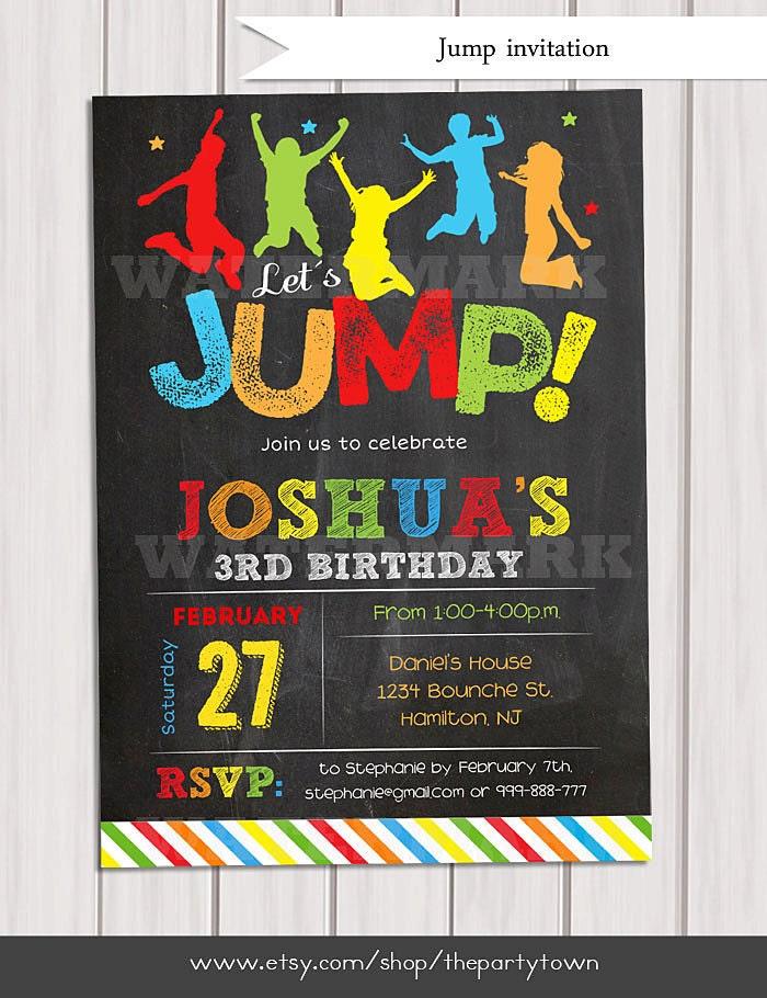 Jump Invitation Bounce House Invitation Trampoline Birthday