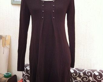 Vintage brown dress-retro dress-vintage wool dress-retro office dress-wool dress-vintage winter dress