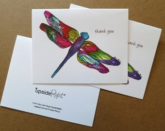 Thank you Dragonfly Watercolor Card Handmade