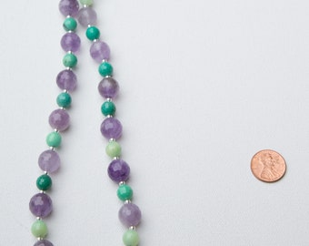 Pretty beaded green and purple gemstone necklace with micro faceted amethyst and micro faceted grass agate beads