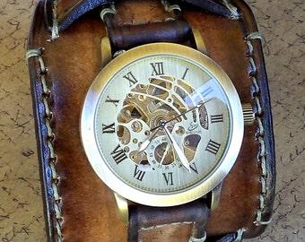 Leather Cuff, Watch Cuff, Men's Leather Watch, Vintage style Wrist Watch,  Bracelet watch, Leather Strap