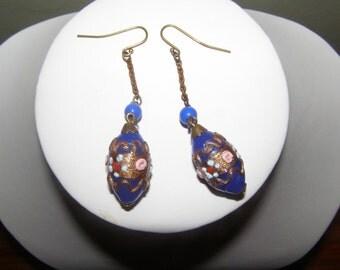 vintage art deco venetian wedding cake glass bead earrings