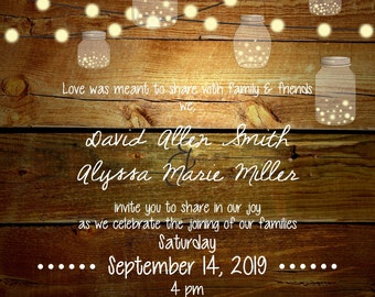 Wood grain with Lanterns Wedding Invitation and RSVP