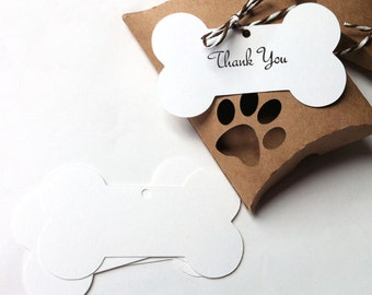 Dog Bone gift tags & shapes. White bone shapes (with or without hole) for your gift wrapping, shop packaging. Pet store, dog, cat, gifts.