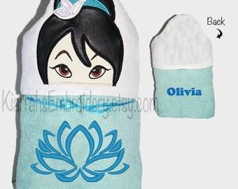 CHILDS, Mulan, Hooded Towel, Towel, Bath Towel, Girl Hooded Towel, Girl Towel, Warrior Princess, Chinese Princess, Girl Princess Towel,Lotus
