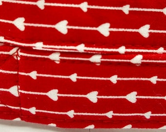 Valentine's Day - Red with White Hearts - dog collar