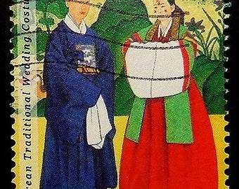 Korean Traditional Wedding Costumes -Handmade Framed Postage Stamp Art 18080