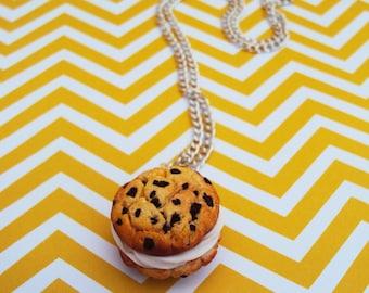 Chocolate Chip Ice Cream Sandwich Necklace, Food Jewelry, Miniature Food, Ice Cream Sandwich, Fake Food, Polymer Clay Food, Dessert Jewelry