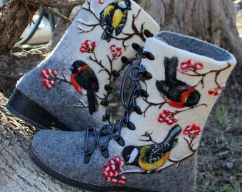 Felt grey winter boots Felted woolen shoes Boho snow valenki Wool painting bullfinch titmouse Felt birds Warm soft footwear Rubber sole