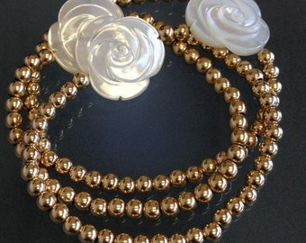 Gold filled and mother of pearl bracelet