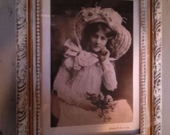 Framed Photo of 1900's Edwardian lady ~ Reprinted Antique  photo of 1900's Edwardian Victorian Lady in Hat ~ Old framed photo ~