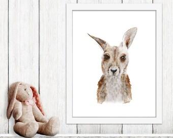Australian Animal Nursery, Baby Kangaroo Print, Kangaroo Art, Australian Print, Australian Animal, Australian Art, Wildlife Portrait 11x14