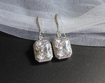 Crystal Square Bridal Earrings, CZ Crystal Earrings, Bridal Jewelry, Wedding Jewelry, Bridesmaids Earrings