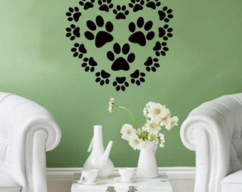 Heart Made of Paws- adorable pet/dog/cat Wall Decal- 24x22